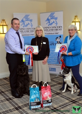 Patron Rosemary Long presents rosettes to Therapet award nominees John Kerr & JJ and Jan Haigh & Nell